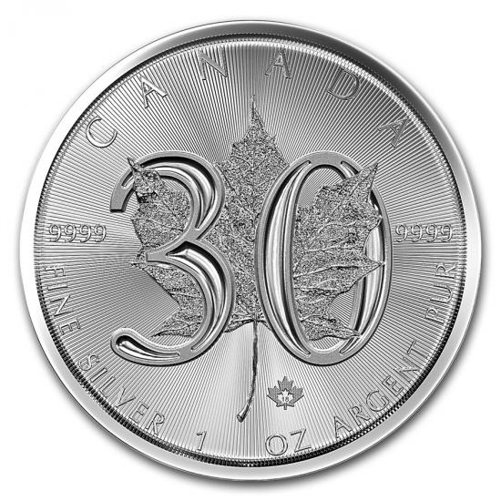 新品未使用 2018  カナダ メイプルリーフ銀貨 1オンス 30周年記念