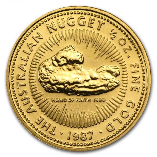 新品未使用 1987 オーストラリア、カンガルー金貨1/2オンス クリアーケース付き