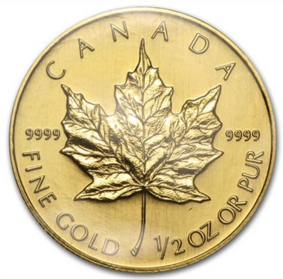 新品未使用 1994 カナダ メイプル金貨 1/2オンス 真空パック入り