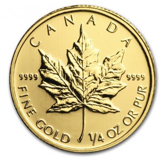 新品未使用 2011 カナダ メイプル金貨 1/4オンス 20mm クリアーケース