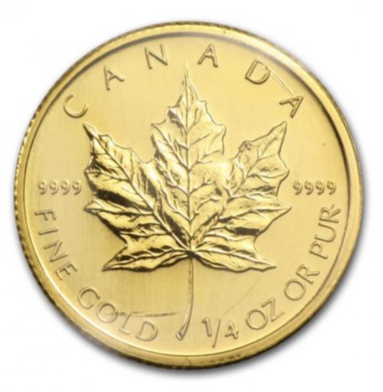 新品未使用 2009 カナダ メイプル金貨 1/4オンス 20mm クリアーケース付き