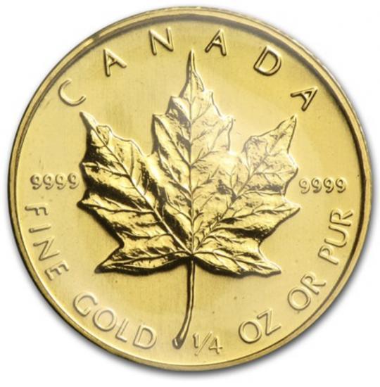 新品未使用 1984 カナダ メイプル金貨 1/4オンス 20mm クリアーケース