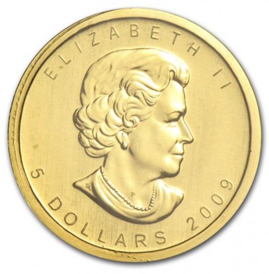 新品未使用 2009 カナダ メイプル金貨1/10オンス 16mmクリアーケース付き