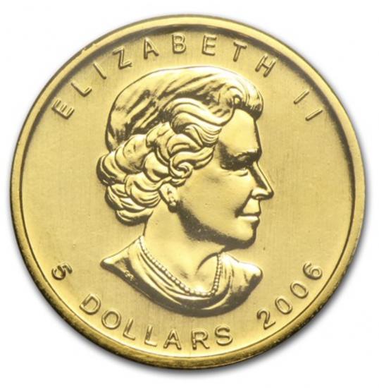 新品未使用 2006 カナダ メイプル金貨1/10オンス 16mmクリアーケース付き