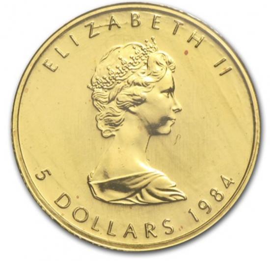 新品未使用 1984 カナダ メイプル金貨1/10オンス 16mmクリアーケース付き