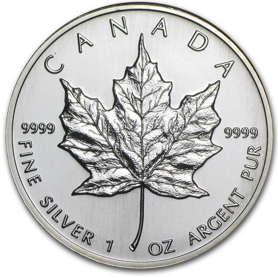新品未使用 1995  カナダ メイプルリーフ銀貨 1オンス【38mmクリアーケース付き】