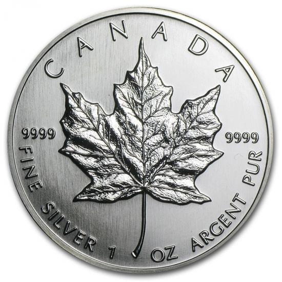 新品未使用 1990  カナダ メイプルリーフ銀貨 1オンス【38mmクリアーケース付き】