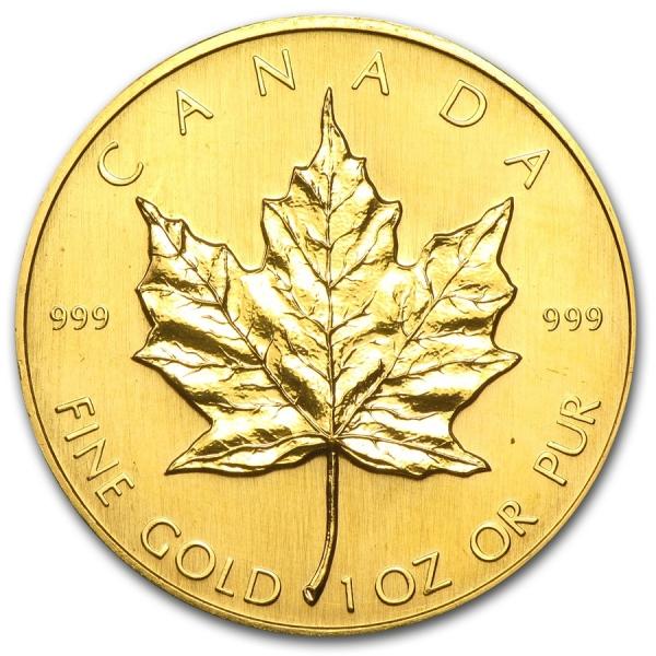 1992 カナダ メイプル金貨1オンス。(30mmクリアーケース付き)