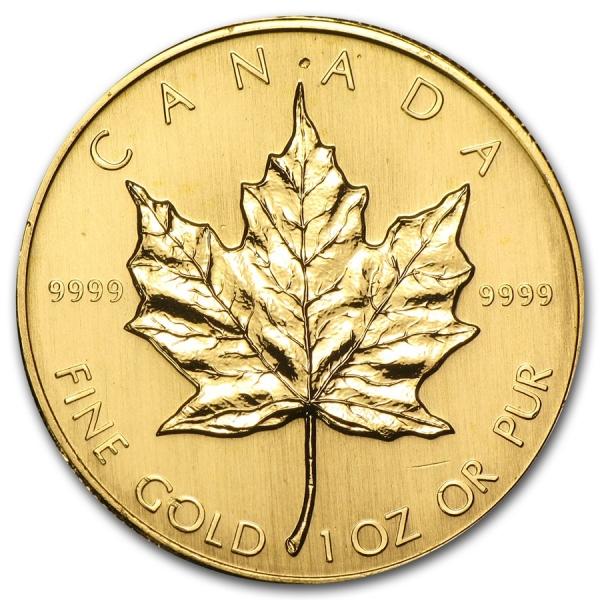 1993 カナダ メイプル金貨1オンス。(30mmクリアーケース付き)