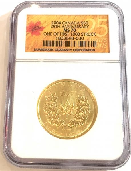 新品未使用 2004 カナダ メイプル金貨1オンス (25th Anniv) MS70 NGC