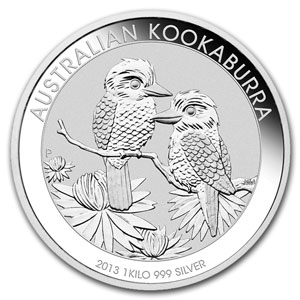 2013年 オーストラリア クッカバラ(カワセミ)30ドル銀貨 1キロ クリアーケース付き