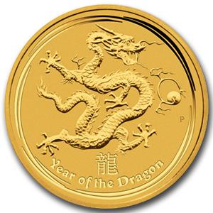 干支ドラゴン金貨  1オンス 2012年製 オーストラリアパース造幣局発行 クリアーケース付き