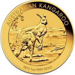 新品未使用 2013年製 オーストラリア、カンガルー金貨1オンス5枚セット 32mmクリアーケース付き