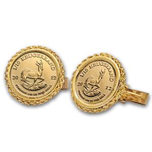 2013年 1/10オンス クルーガーランド金貨付き  カフスリンクス ロープカット 2個セット