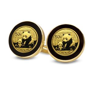 2013年 1/20オンス パンダ金貨付き  カフスリンクス 2個セット