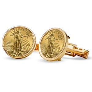 2013年 1/10オンス イーグル金貨付き   ポリッシュデザイン カフスリンクス 2個セット