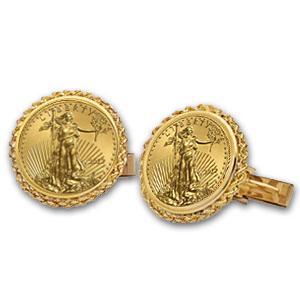 2013年 1/10オンス イーグル金貨付き   ポリッシュロープデザイン カフスリンクス 2個セット