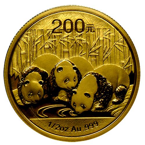 新品未使用 2013年製 パンダ金貨1/2オンス