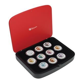 2012年 1オンスコインシルバーセット ドラゴン 全10コイン 色付き
