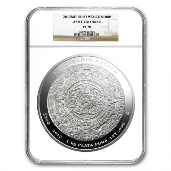 2012年 メキシコ アステカ族 カレンダー銀貨 1KG NGC PL70