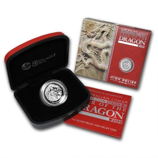 干支ドラゴン銀貨 2012年 1オンス ハイレリーフ プルーフ銀貨