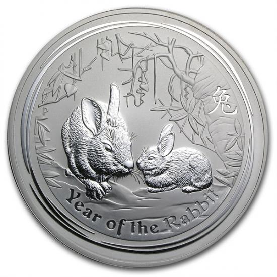 2011年製 兎(ウサギ)銀貨 1キロ  クリアーケース付き
