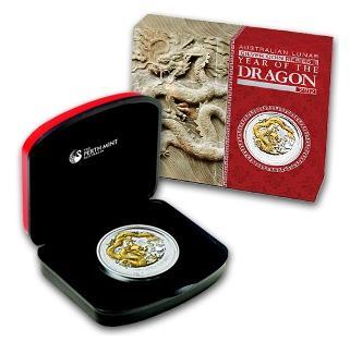 干支ドラゴン銀貨 1オンス 2012年製 Gilded Silver (SII) w/Box & Coa