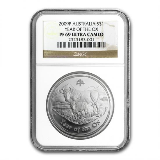干支ネズミ銀貨 1オンス 2009年製 Proof Silver Coin (SII) NGC PF-69