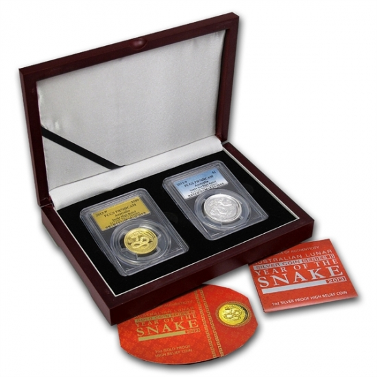 干支ヘビ金貨&銀貨 1 oz Gold & Silver High Relief Proof Snake Set PCGS PR-70