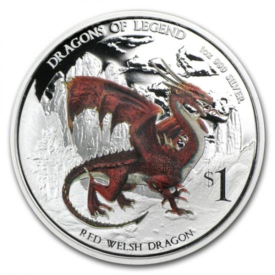 干支ドラゴン銀貨 2012年 1オンス 伝説のドラゴン Red Welsh