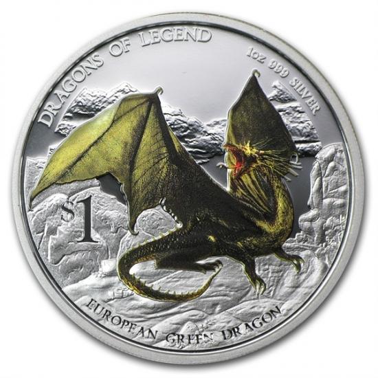 干支ドラゴン銀貨 2013年 1オンス プルーフ ヨーロッパの伝説のグリーンドラゴン