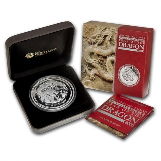 干支ドラゴン銀貨 2012年 5オンス プルーフ