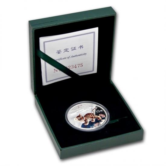 1998年製 中国 タイガー銀貨 1オンス (w/box, CoA)