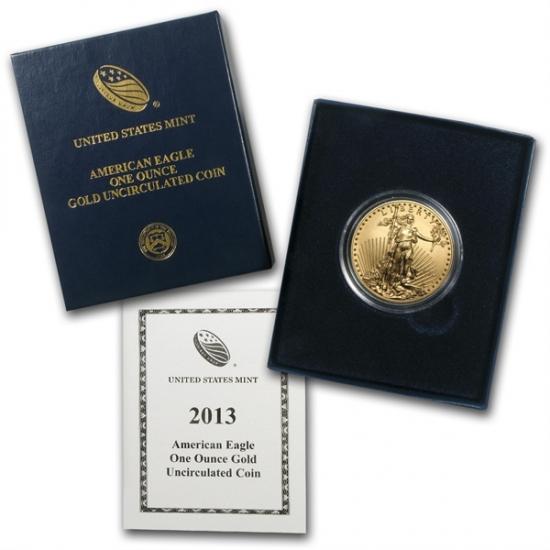 2013-W 1オンス 艶のあるイーグル金貨 (w/Box & CoA)