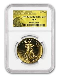 2009 ウルトラハイレリーフ ダブルイーグル MS-70 NGC (Gold Label)