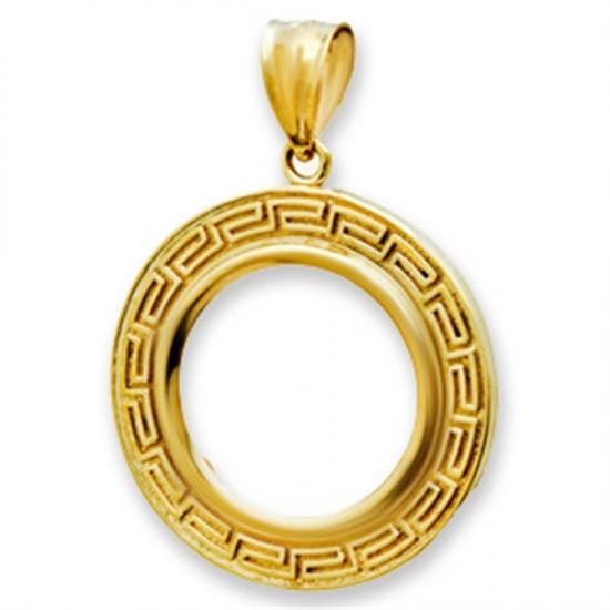 14K Gold Prong Greek Key Coin Bezel - 22 mm