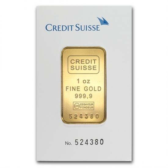 1 オンス Credit Suisse ゴールド バー .9999 保護シート入り
