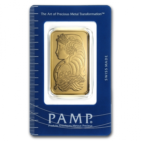 1 オンス Pamp Suisse Gold Bar .9999 【女神像】保護袋入り