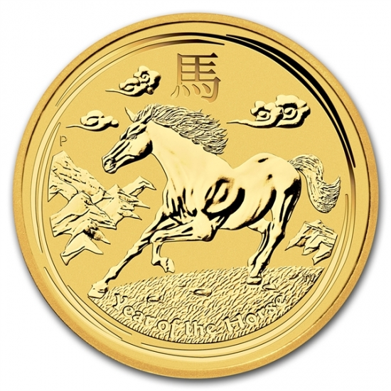 ホース金貨 1/10オンス 2014年製 オーストラリアパース造幣局発行 クリアーケース付き