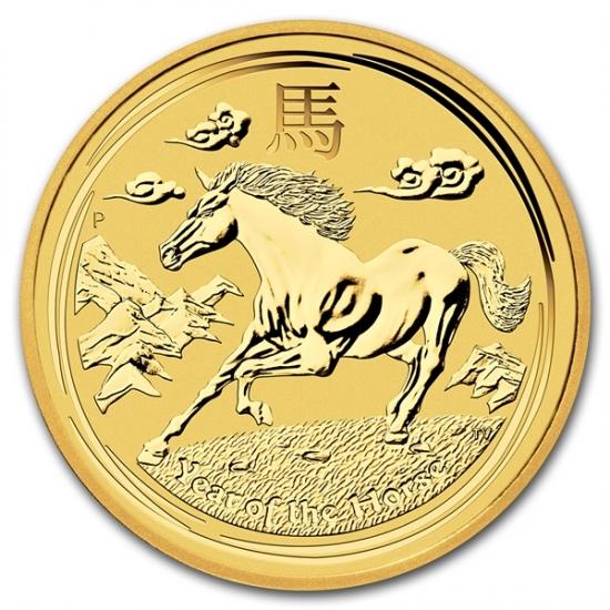 ホース金貨 1/4オンス 2014年製 オーストラリアパース造幣局発行 クリアーケース付き