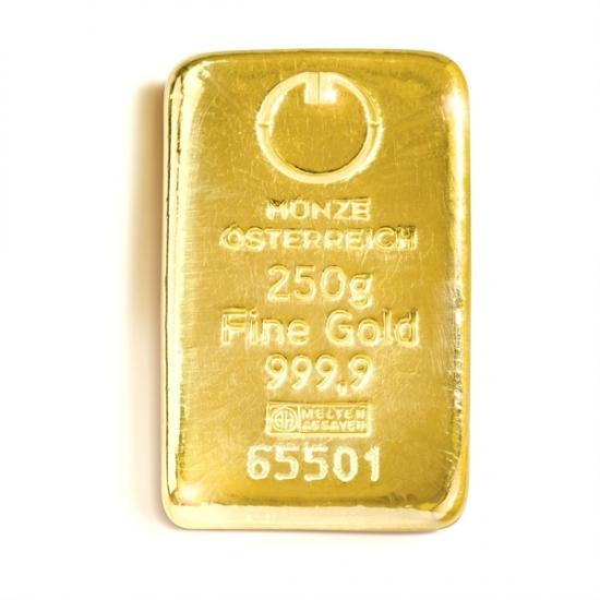250グラム オーストリア造幣局 ゴールドバー .9999%