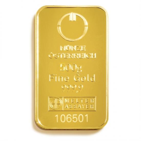 500グラム オーストリア造幣局 ゴールドバー .9999%