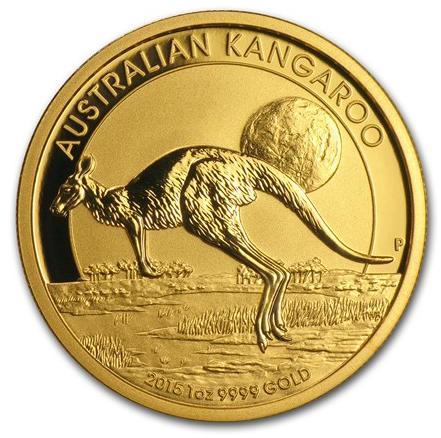 新品未使用 2015年製 オーストラリア、カンガルー金貨1オンス5枚セット クリアーケース付き