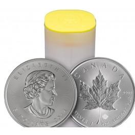2015年製 新品未使用 メープル銀貨 1オンス 25枚セット 【38mmクリアーケース25枚付き】