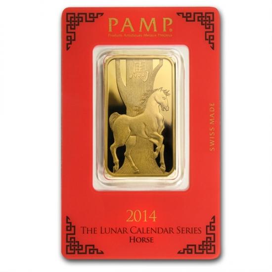 1 オンス Pamp Suisse Gold Bar .9999 【馬】保護袋入り