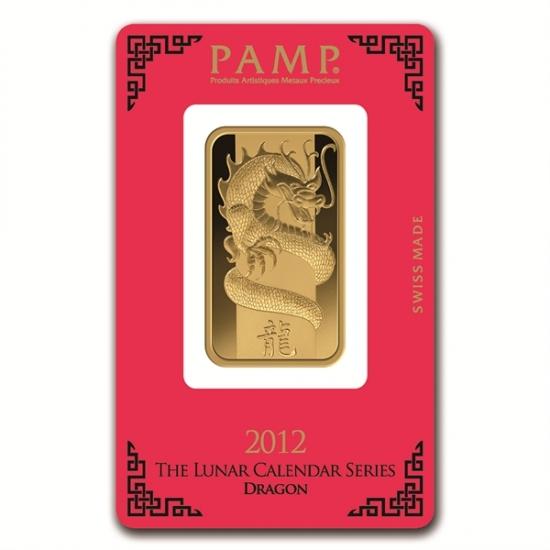 1 オンス Pamp Suisse Gold Bar .9999 【ドラゴン】保護袋入り
