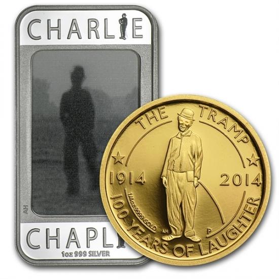 「喜劇王」チャーリーチャップリン 銀幕デビュー100周年記念 金貨銀貨 セット