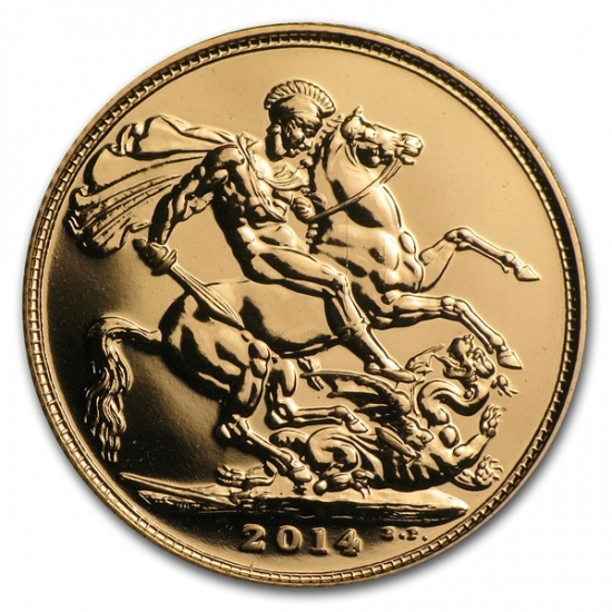 Great Britain 2014 Gold Sovereigns (New) AGW .2354 クリアーケース付き