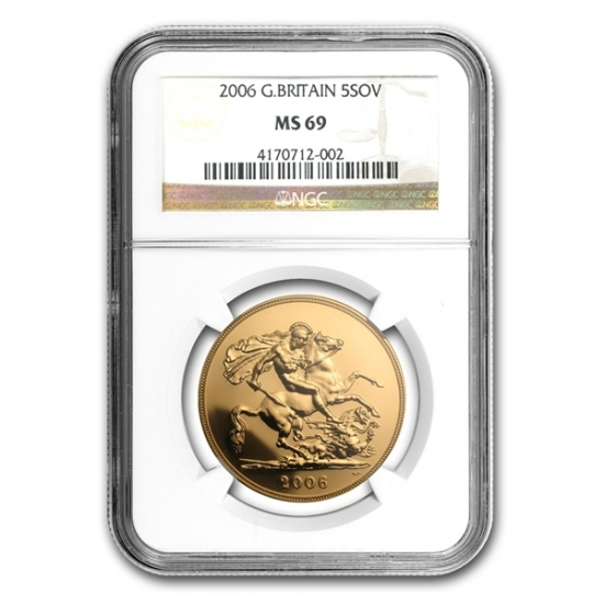 Great Britain Gold Sovereign 5 Pounds (Random Dates) MS-69 NGC
