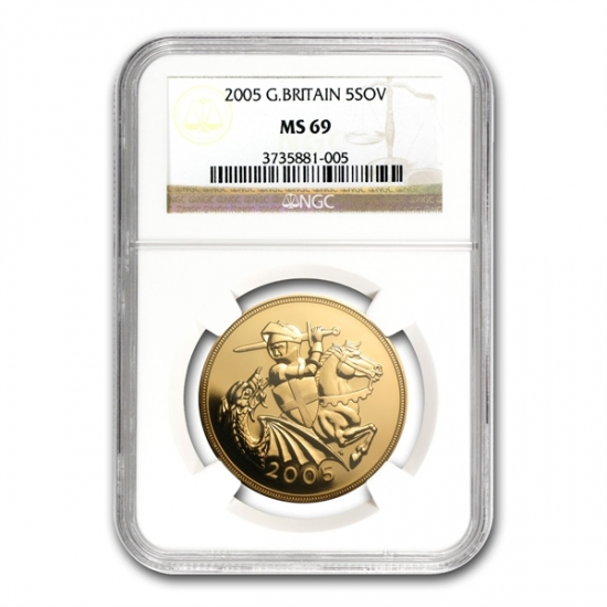 Great Britain 2005 Gold 5 Pounds Sovereign MS-69 NGC